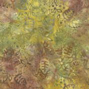Moda Color Daze Batiks by Laundry Basket Quilts - 4490 - Green, Brown, Yellow, Leaf Print Batik - 42240 28 - Cotton Fabric